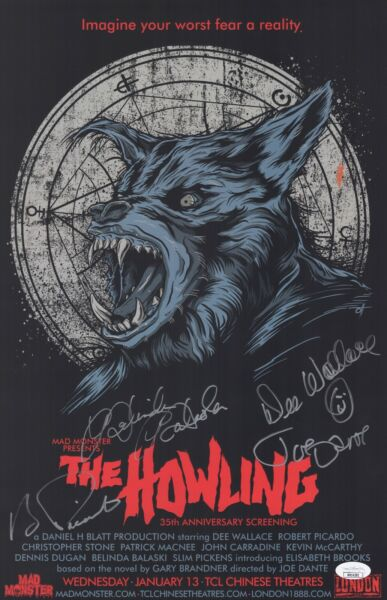 THE HOWLING Cast X4 Signed WALLACE DANTE PICARDO 11x17 Poster JSA COA Horror