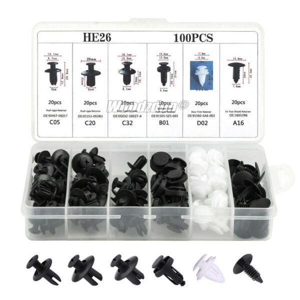 100pcs 6size Clips Fender Liner Blind Rivet Bumper Retainer Push In Fastener Kit