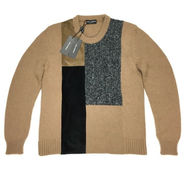NWT $1.4k Dolce amp; Gabbana Men#x27;s RUNWAY Camel Wool Patchwork Sweater M AUTHENTIC