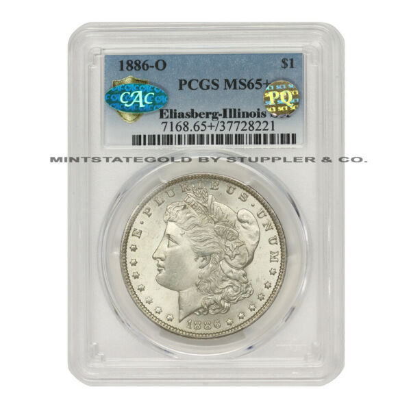 1886-O $1 Silver Morgan PCGS MS65+ CAC Certified PQ Approved Illinois Set Coin