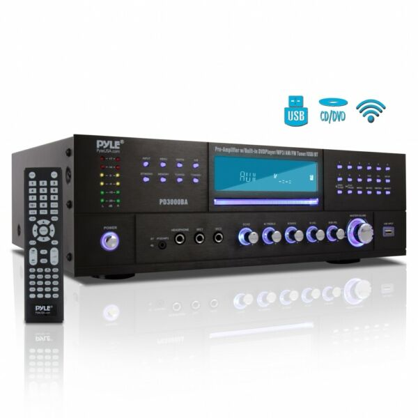 PYLE BLUETOOTH 4.1Ch 3000W AM FM STEREO RECEIVER AMPLIFIER DVD CD USB SD AUX IN