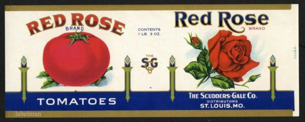 RED ROSE Brand ST. Louis Missouri Tomato *AN ORIGINAL 1930's TIN CAN LABEL*