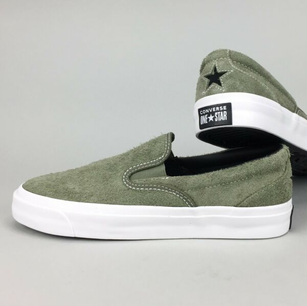 New Converse One Star CC Slip-On Mid 'Field Surplus' Green White Fuzzy Suede