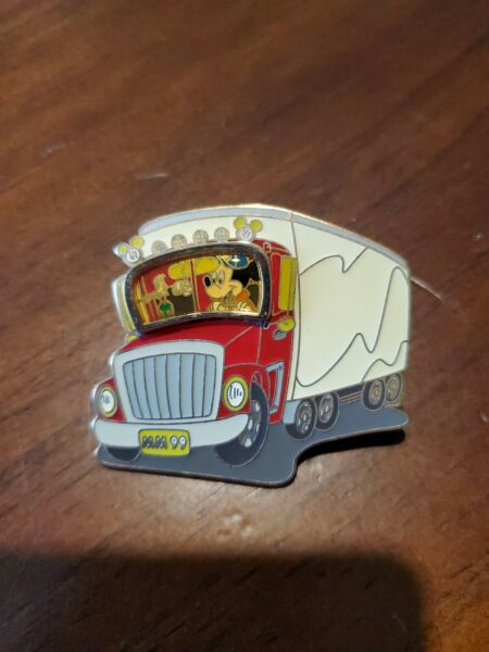 Mickey Mouse driving a Tractor Trailer Semi Delivery Truck Disney Pin
