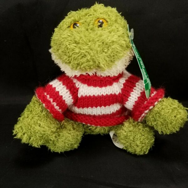 World Market Plush Beanbag Frog Red White Striped Removable Sweater Stuffed 5