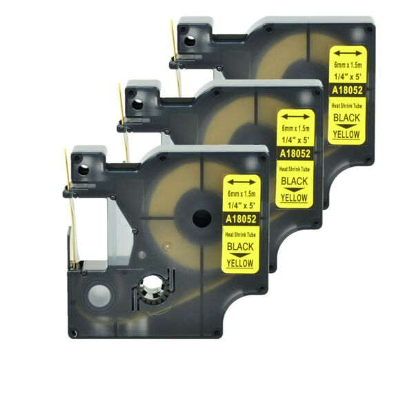 3 Heat Shrink Tube Label IND Tape Black on Yellow 18052 For Dymo Rhino 4200 1 4quot; $13.99