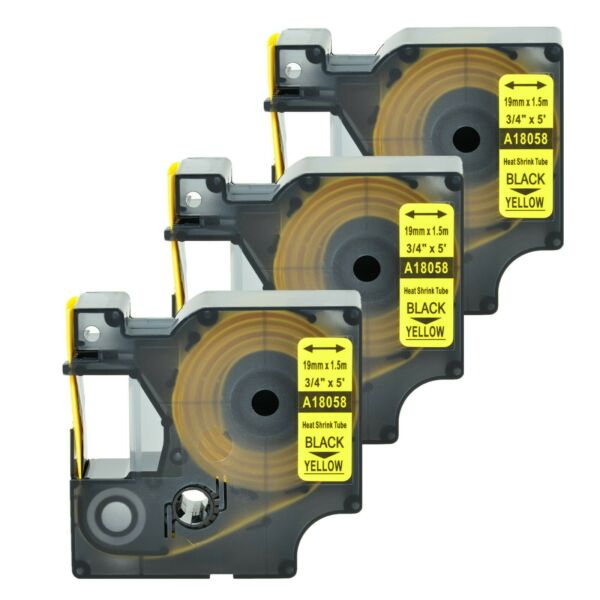 3 Heat Shrink Tube Label IND Tape Black on Yellow 18058 For Dymo Rhino 4200 3 4quot; $18.99