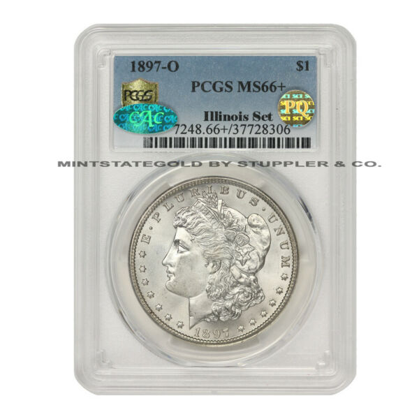 1897-O $1 Silver Morgan Dollar PCGS MS66+ PQ Approved CAC certified Illinois Set