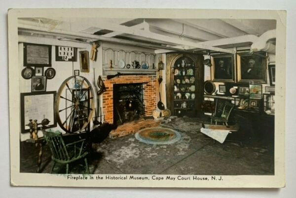 NJ Postcard Cape May Court House Fireplace in Historical Museum interior view