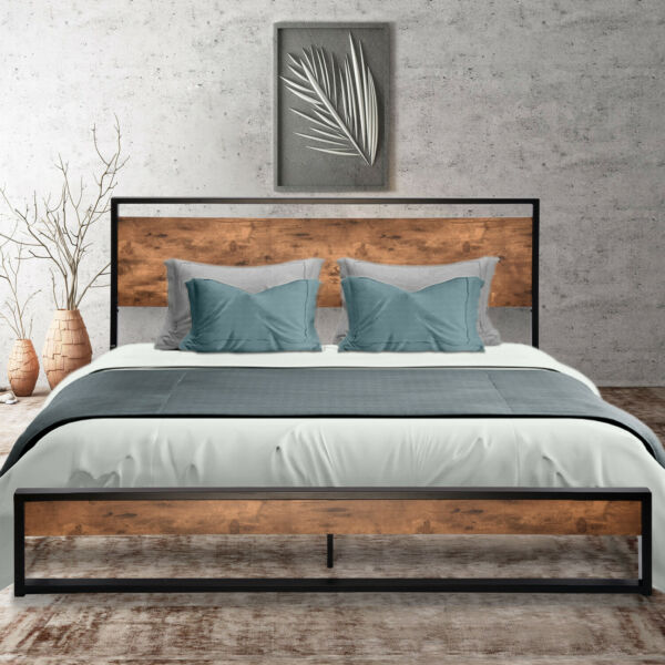 Queen Full Twin Size Metal Platform Bed Frame with Rustic Wood Headboard Brown