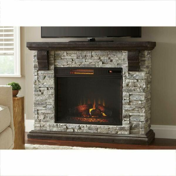 Gorgeous Faux Stone Mantel Electric Fireplace - Home Decorators Highland 50 in.