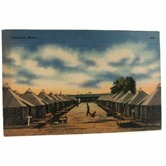 Postcard Company Street Military Tents Camp 69755 Unposted 1940#x27;s M12