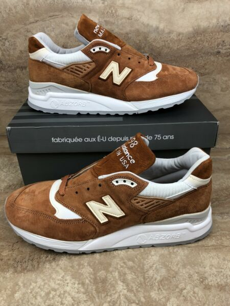 New Balance 998 Men's Running Shoes Brown Sugar Curry White Sneakers