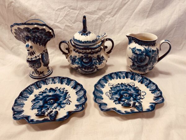 Vintage Lot Of 5 Pc Gzhel Ceramic Dishes Russia $40.00