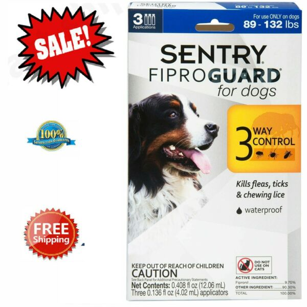 Sentry Fiproguard Plus Flea And Tick Topical For Dog 89-132Lbs Treatment Control $13.94