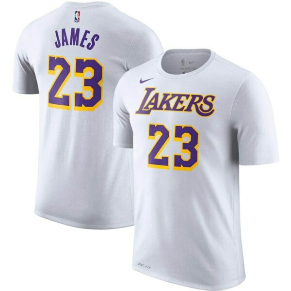 2019-2020 Nike Los Angeles Lakers LeBron James Player Name Number Dri-FIT Shirt