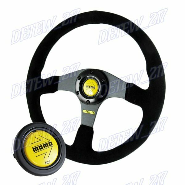 Universal 350mm Racing Steering Wheel w Suede Leather Arrow Horn For momo hub