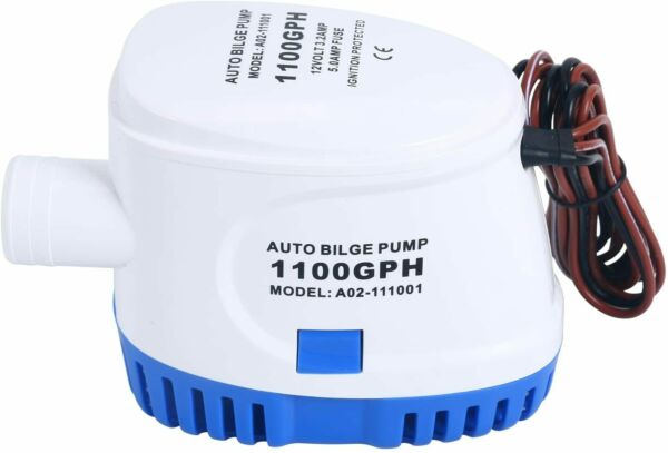 Submersible Electric Auto Bilge Water Pump w Built-in Float Switch 12v 1100gph