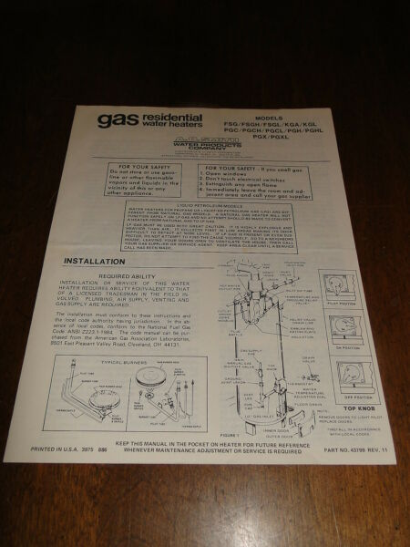 A.O. Smith Gas Residential Water Heater instructions parts manual $5.99
