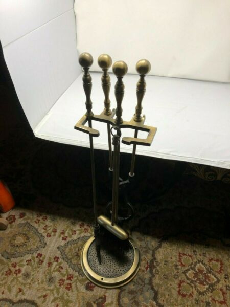 4 Brass Fireplace Tool Set Stand With Base PokerBroomGrabber