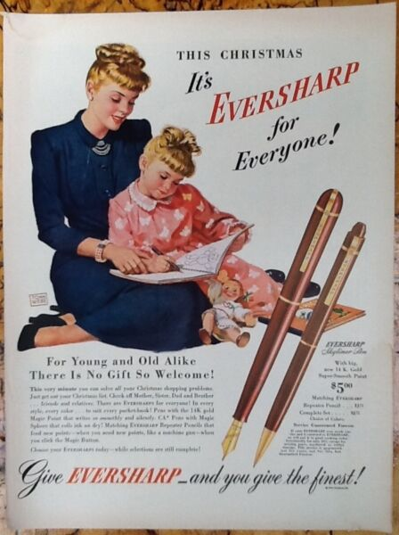 Eversharp pens Christmas ad 1947 original vintage fashion 1940s mom amp; child Webb