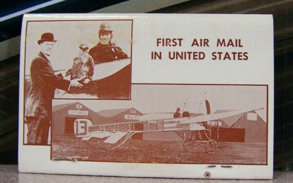 Vintage Matchbook M5 Los Angeles California Kitty Hawk Airplane History Air Mail