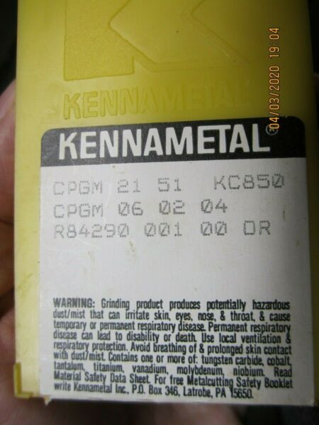 Kennemetal Indexable Carbide Inserts 10 NOS CPGM 2150 KC 850
