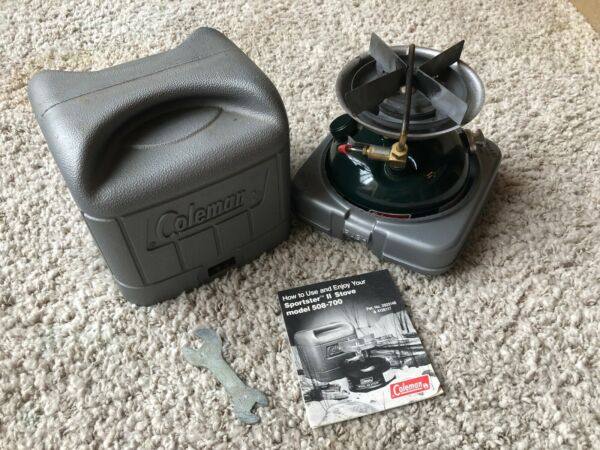 WORKING! - March 1990 COLEMAN Model 508A Stove w Case + Papers Wrench- FREESHIP