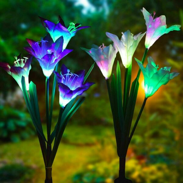 2 pack Solar Lily Flowers Garden Lights LED Outdoor Yard Decor Lamp Multi Color $20.98