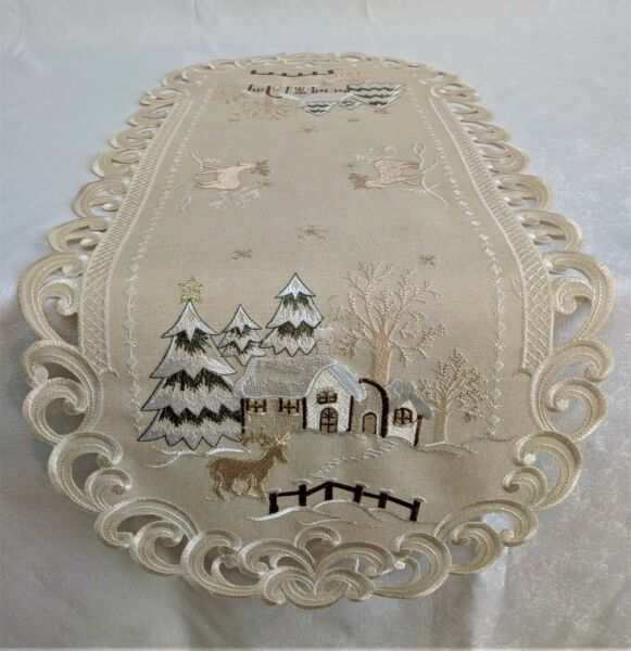 Doily Boutique Table Runner Doily Mantel Scarf with Christmas Cabin on Burlap