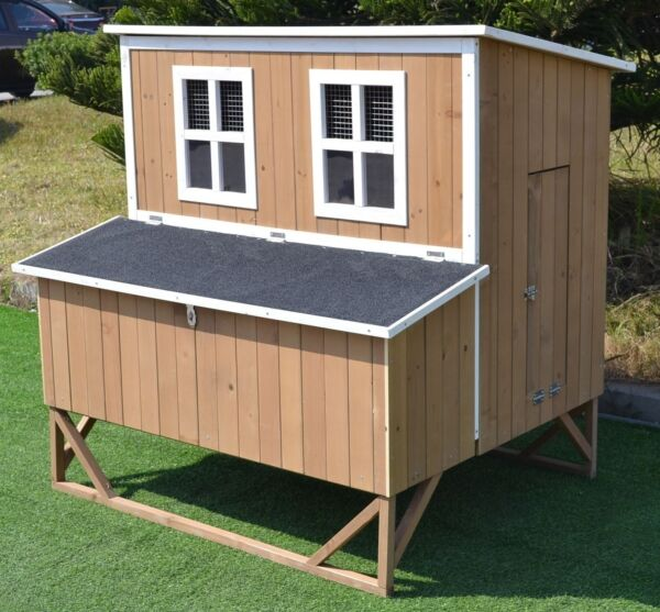 New Large Wood Chicken Coop Backyard Hen House 4 8 Chickens w 4 nesting box