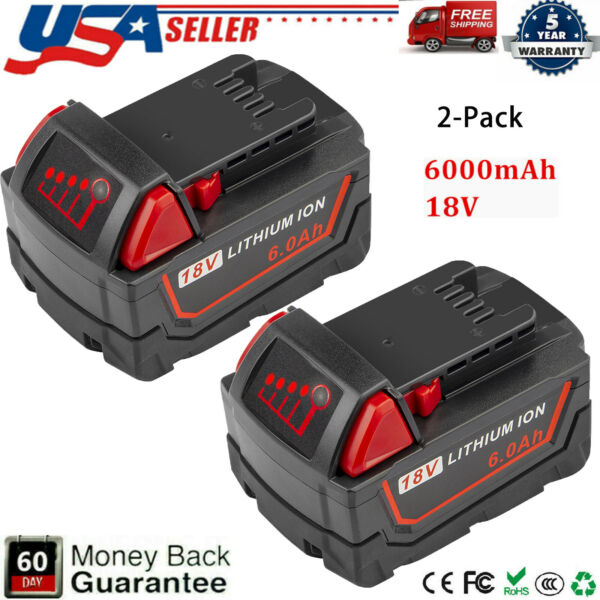 Qty 2 For Milwaukee M18 Lithium XC 6.0 AH Extended Capacity Battery 48 11 1860