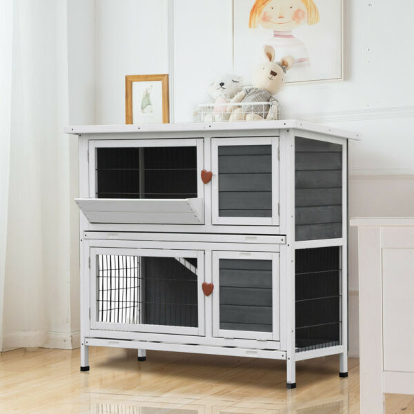 Lovupet 2-Story Elevated Stacked Outdoor Wooden Rabbit Hutch Small Animal Habita