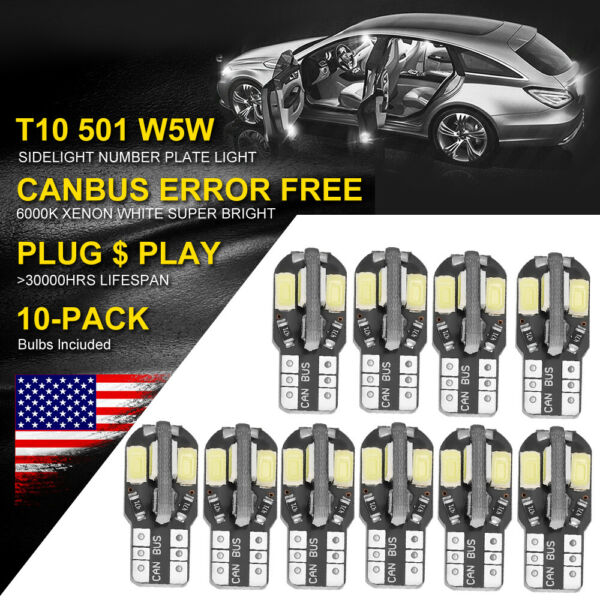 10PCS Canbus T10 194 168 W5W 5730 8 LED SMD White Car Side Wedge Light Bulb Lamp