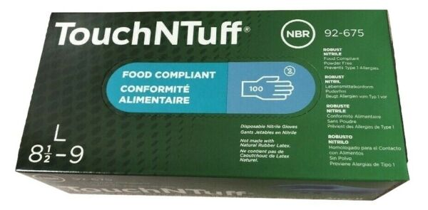 ANSELL 92 675 L TouchNTuff Nitrile Disposable Gloves Size Large Box of 100