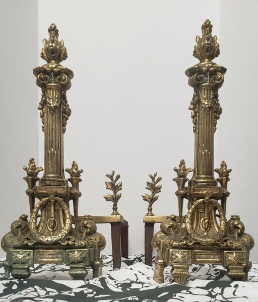 French Empire Brass Bronze Column and Flame Finial Fireplace Andirons