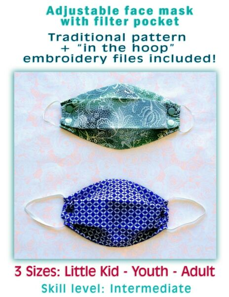Face Mask PATTERN + In the Hoop Embroidery Design Files 3 Sizes DIY Fabric Mask