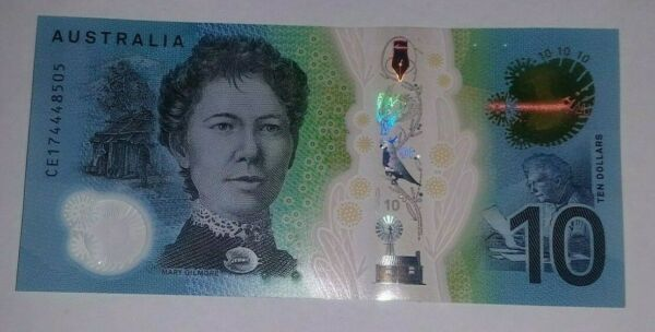 New Australian $10 Dollar Polymer Bank Note Circulated Valid Currency