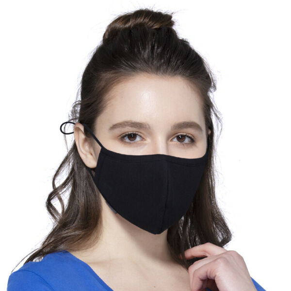 Black Cotton Face Mask Washable Reusable Adjustable Unisex Ships from USA