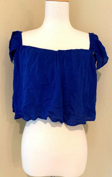 NEW WINDSOR STORE Cropped Crop Flowy off shoulder tank top BLUE sexy FESTIVAL S