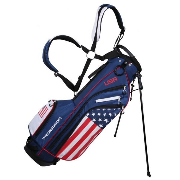 Prosimmon Golf DRK 7quot; Lightweight Golf Stand Bag with Dual Straps USA Flag