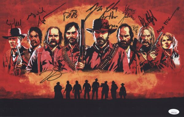 RED DEAD REDEMPTION 2 CAST X8 Signed 11x17 Art Print IN PERSON AUTOGRAPH JSA COA