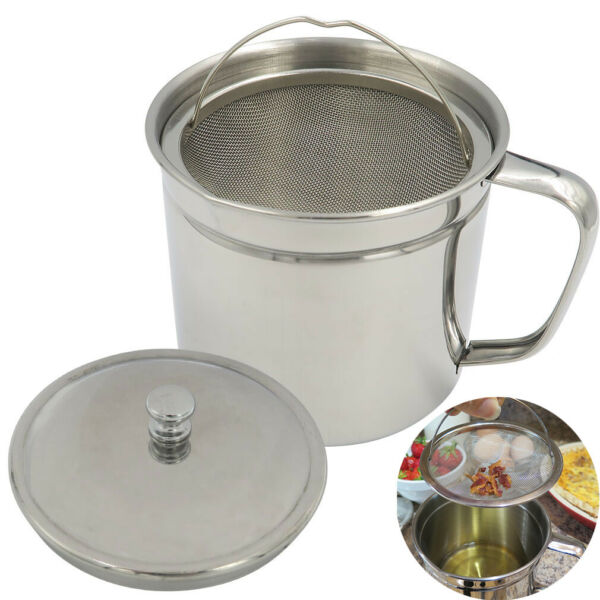 Evelots Oil Storage Can Strainer Container Bacon Grease Keeper Stainless 5 Cups