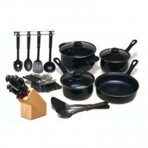 Gibson Home Kitchen 32 Piece Chef Du Jour Cookware Set, Black (64269-32)