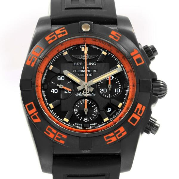 Breitling Chronomat Raven Blacksteel Watch MB0111 Box Papers