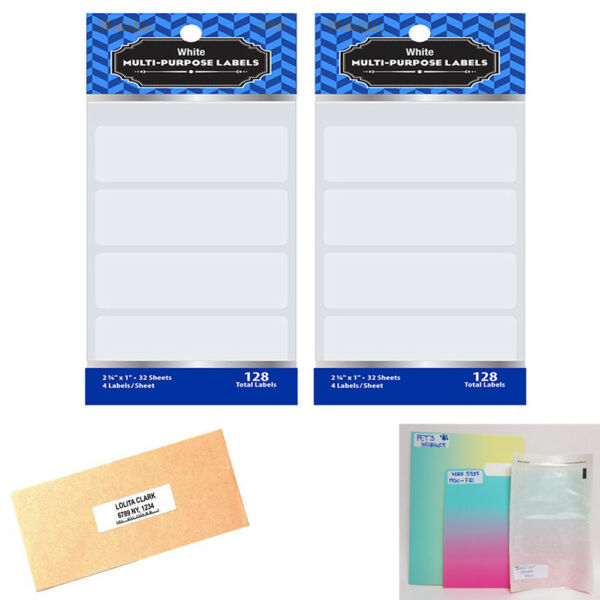 256 Blank Stickers White Labels 2 3 4quot; X 1quot; Self Adhesive Crafts Personalize Tag