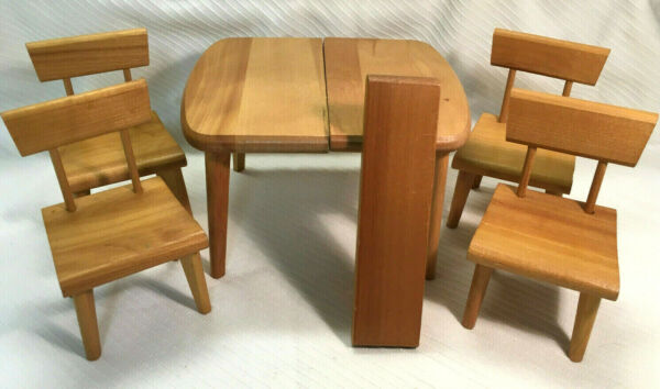 Vintage Strombecker Table Leaf and 4 Chairs for 8