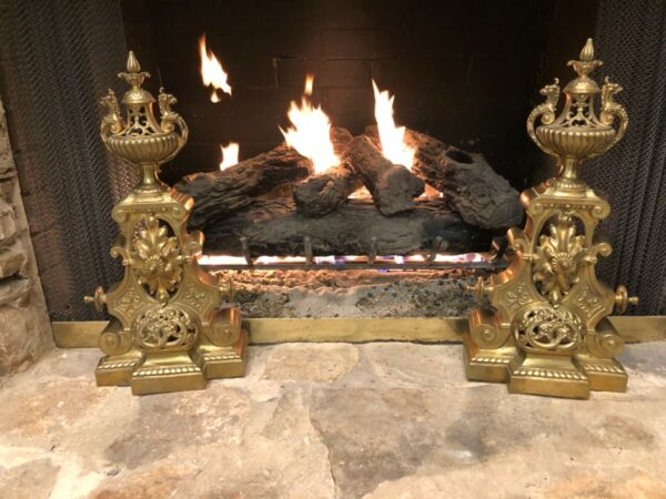 CLASSIC PAIR FRENCH ANTIQUE BRONZE ORMOLU LOUIS XVI CHENETS ANDIRONS