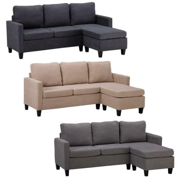 Convertible Sectional Sofa Couch Fabric L Shaped Home with Cushion