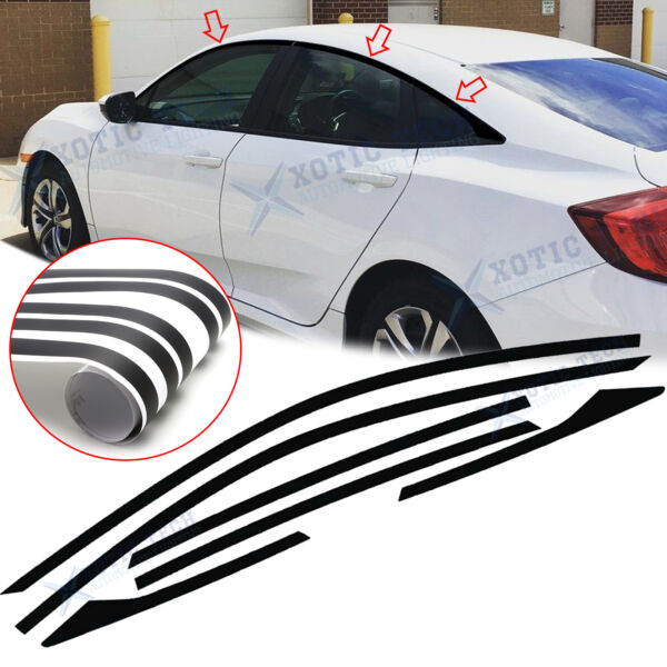 6x Chrome Delete Vinyl Blackout Window Trims Fit For Honda Civic Sedan 2016 2020